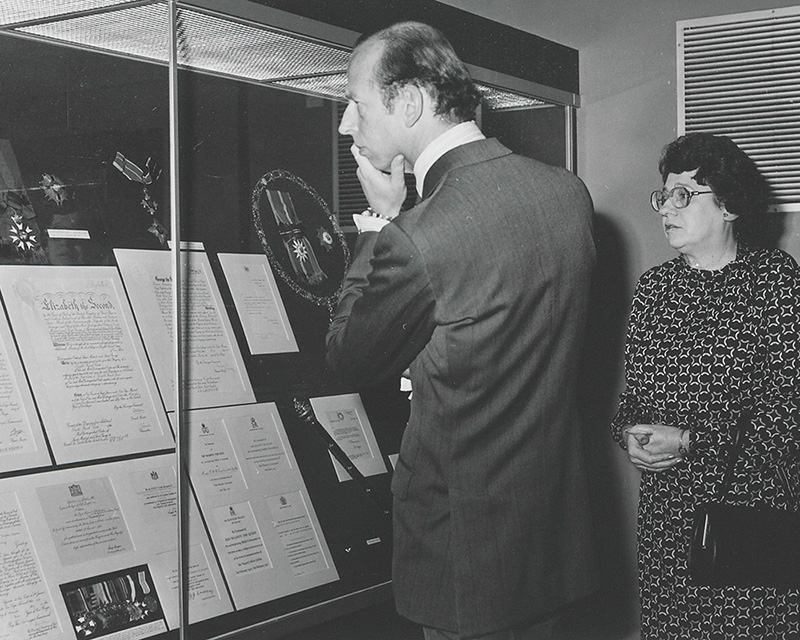 The Duke of Kent visiting the Tiger of Malaya exhibition, 1981