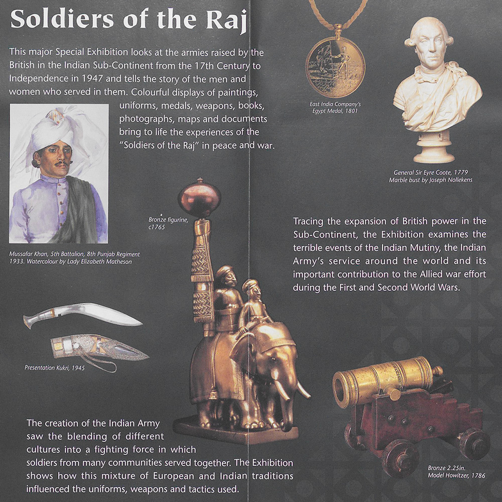 Exhibition leaflet centrefold, Soldiers of the Raj, 1997