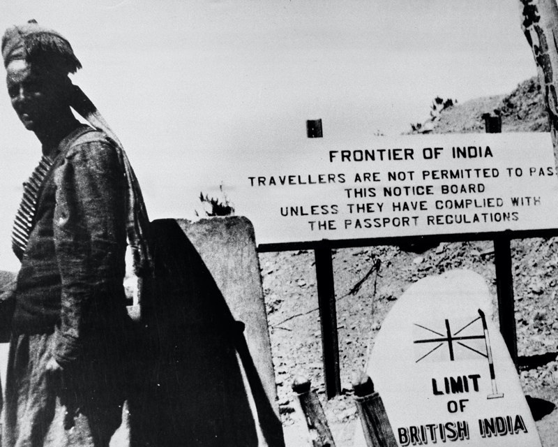 A sentry of the Khyber Rifles stands guard on the frontier between British India and Afghanistan, 1946