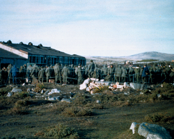 Prisoner of War compound, Ajax Bay, Falkland Islands, 1982