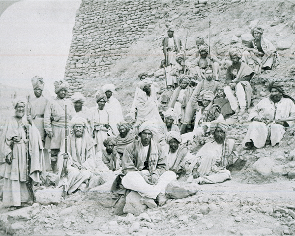 Afridi chiefs, who controlled the Khyber Pass, at Jamrud Fort, c1878