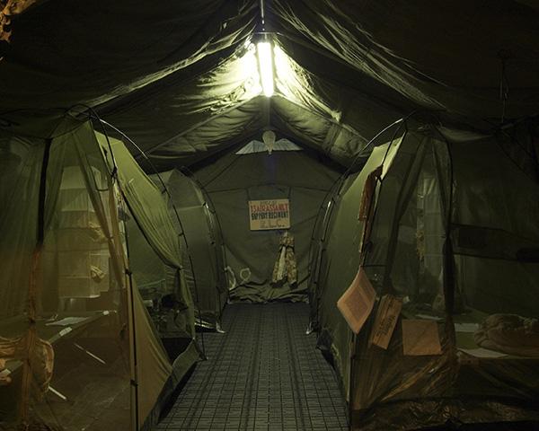 Reconstruction of typicalsleeping quarters, Helmand exhibition, 2007