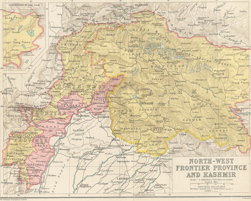 Map of the North-West Frontier Province and Kashmir, 1907