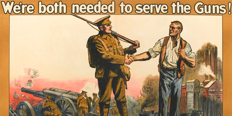 Part of a First World War propaganda poster showing a soldier and a munitions worker