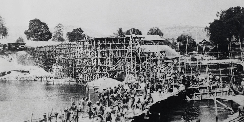The building of the bridge over the River Kwai taken by a prisoner of war, c1943