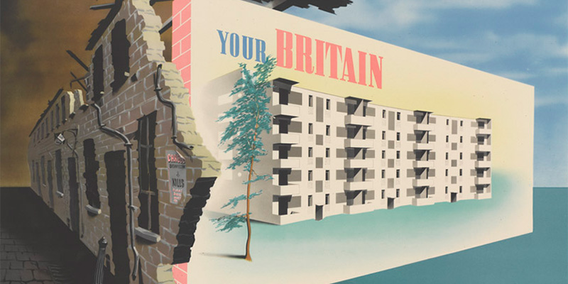 Second World War propaganda poster contrasting pre- and post-war accommodation in Britain