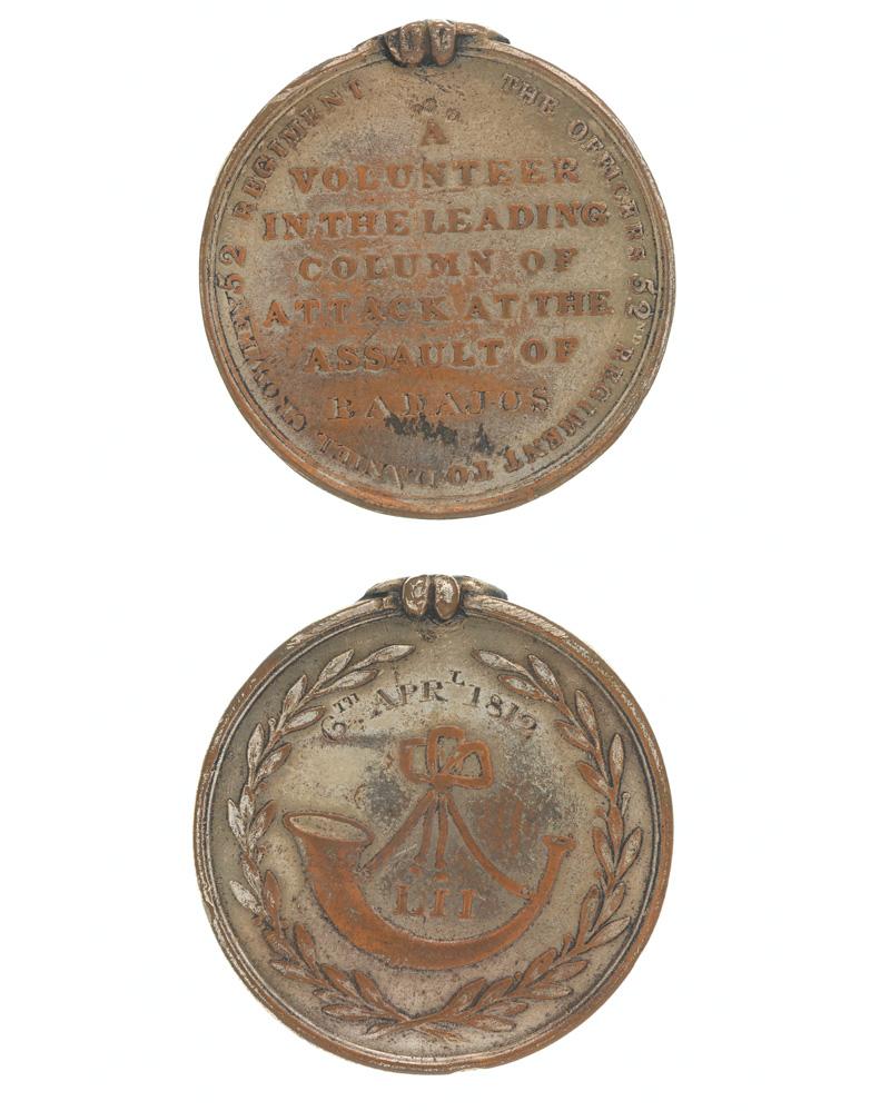 Forlorn Hope medal for Badajoz, 52nd (Oxfordshire) Regiment (Light Infantry), 1812