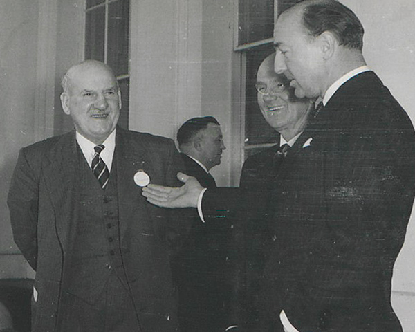 Secretary of State for War John Profumo(right) with Field Marshal Slim (left), 1962