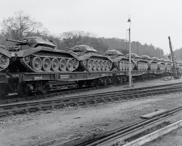 'Witley Station: The move to Westbury', Cruiser tanks on flatbed railway trucks, 1941