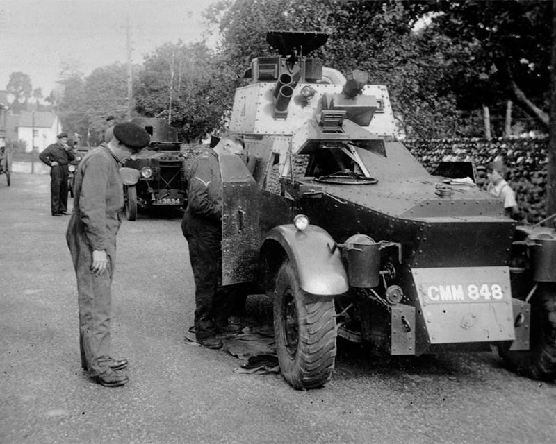 An armoured car of the 12th Lancers at Budleigh camp, 1938