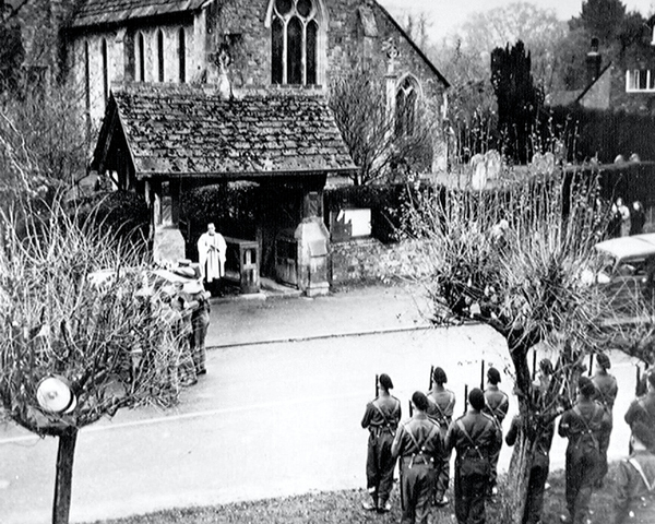 'B' Squadron detachment, 3rd County of London Yeomanry (Sharpshooters) at the funeral of Second Lieutenant Basil Stevens, Chiddingfold, Surrey, 1940