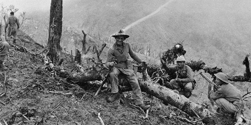 10th Gurkha Rifles resting after the capture of 'Scraggy' hill, Burma Campaign, 1944