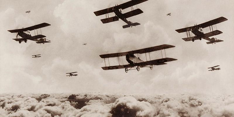 A flight of bombing planes, 1st Australian Flying Corps, Palestine, 1914-18