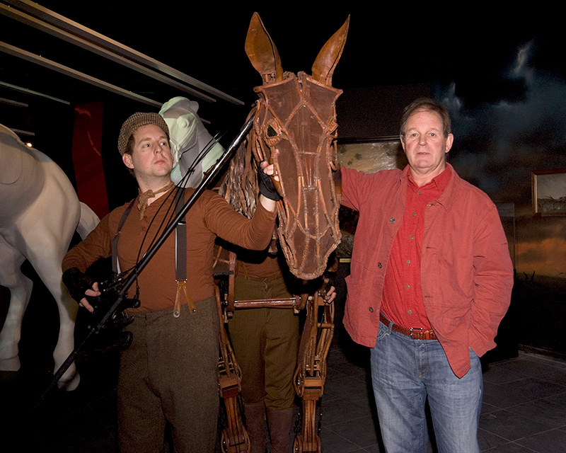 Sir Michael Morpurgo (right) with Joey, the puppet-horse from the stage production of War Horse, 2011