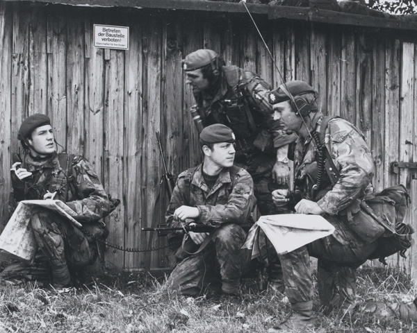 Members of the Coldstream Guards during an infantry exercise in Germany, c1977