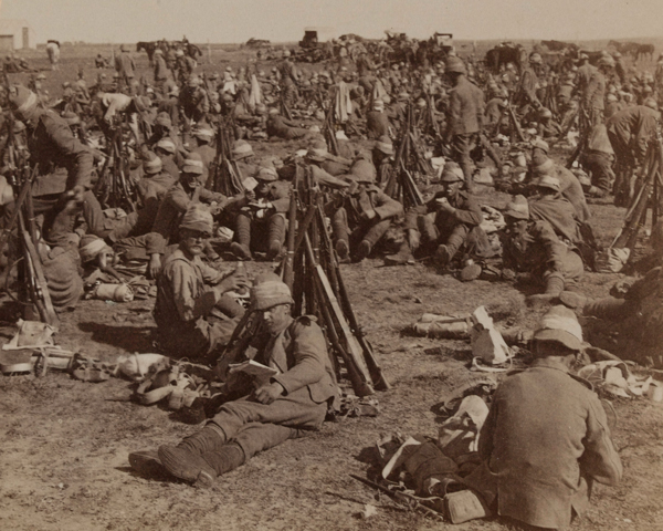 The Coldstream Guards resting during a march in the Transvaal, c1900