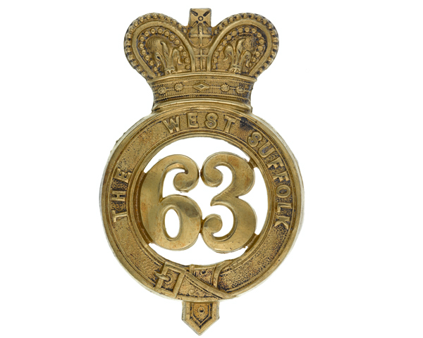 Other ranks' glengarry badge, 63rd (West Suffolk) Regiment of Foot, c1874