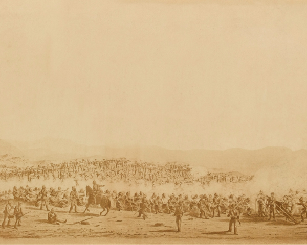 The 59th (2nd Nottinghamshire) Regiment and 3rd Gurkhas in action at Ahmed Khel, 1880