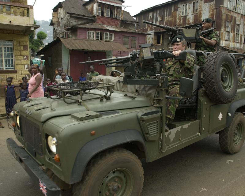A British Land Rover on patrol in Sierra Leone, c2000