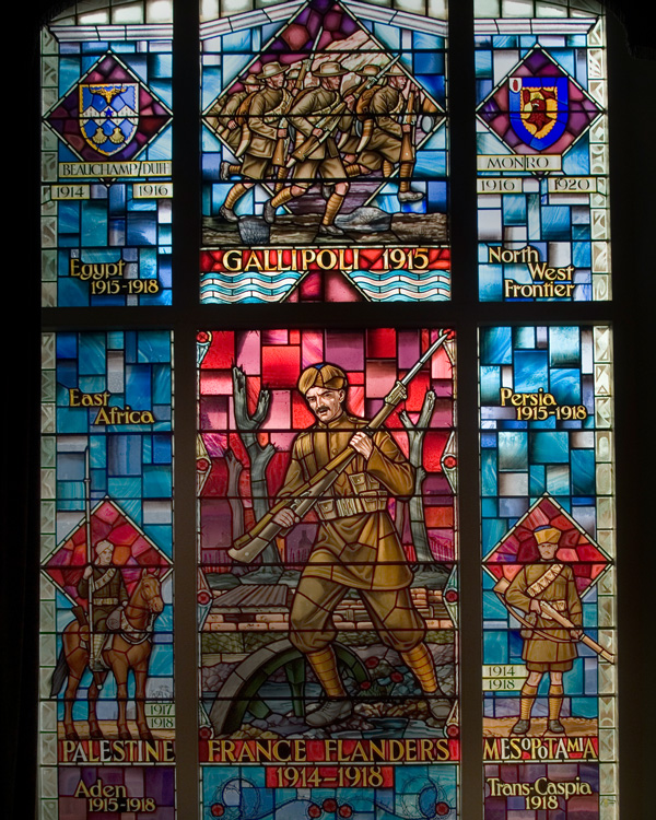 Stained glass window commemorating the service of Indian Army soldiers during World War One, 1970