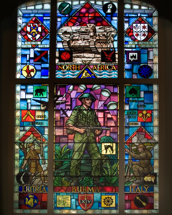 Stained glass window memorial commemorating Indian Army service during the Second World War, 1970