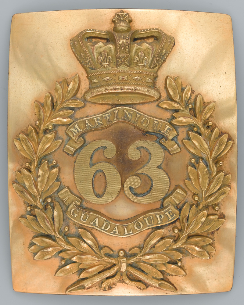 Officer's shoulder belt plate, 63rd (West Suffolk) Regiment of Foot, c1833