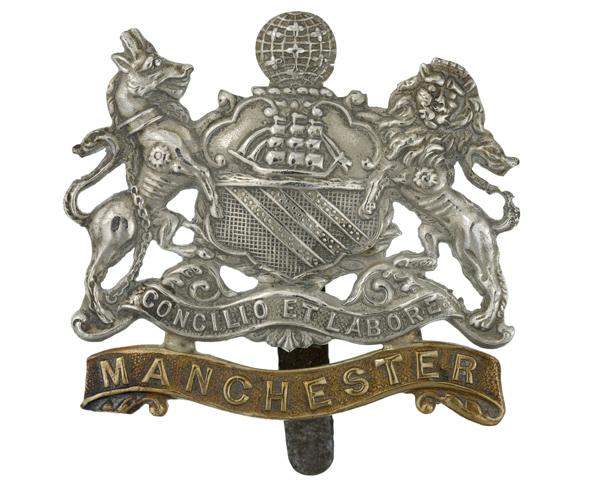 Cap badge of The Manchester Regiment, c1914