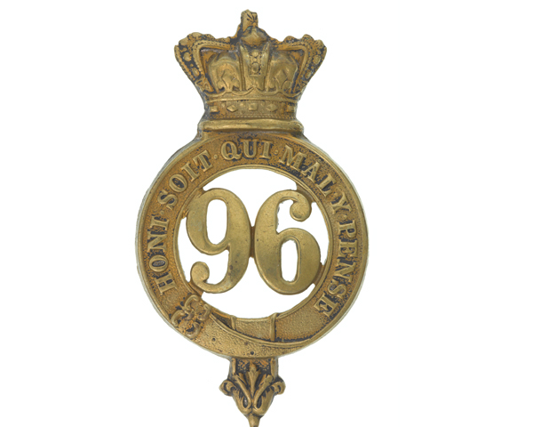 Glengarry badge, other ranks, 96th Regiment of Foot, 1874-1881