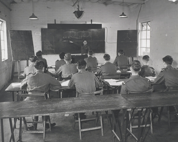 Cadets attend a lecture at Sandhurst, c1960
