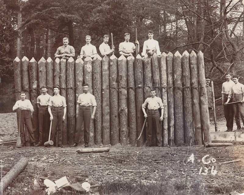 Cadets constructing a wooden palisade at the Royal Military College Sandhurst, 1905