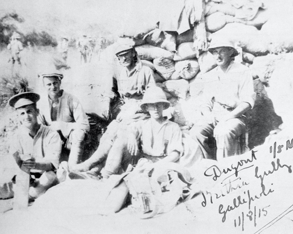 Troops from 1/5th Battalion The Manchester Regiment in Krithia Gully, Gallipoli, August 1915
