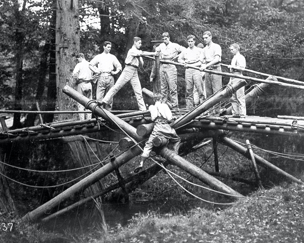 Cadets undertaking a bridge-building exercise at Sandhurst, 1911