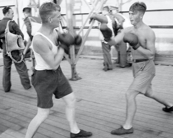 3rd County of Yeomanry boxing en route to South Africa, 1941