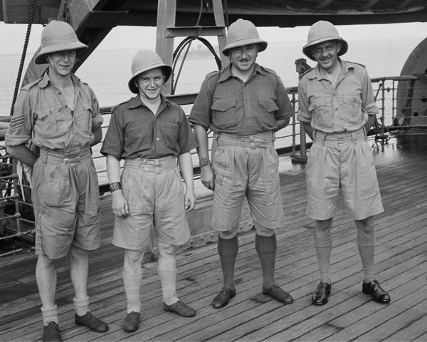 Captain Barrett and non-commissioned officers, 3rd County of London Yeomanry (Sharpshooters), HMT 'Orion', 1941