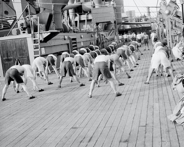 Physical training aboard HMT 'Orion' en route to Egypt, 1941
