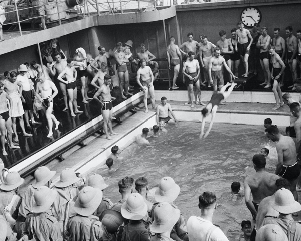 The swimming pool on board HMT 'Orion', 1941