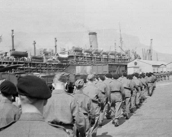 HMT 'Orion' docked at Cape Town with troops on the quayside, 1941