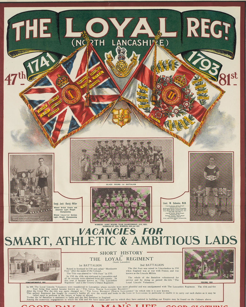 Recruiting poster, The Loyal Regiment (North Lancashire), c1930