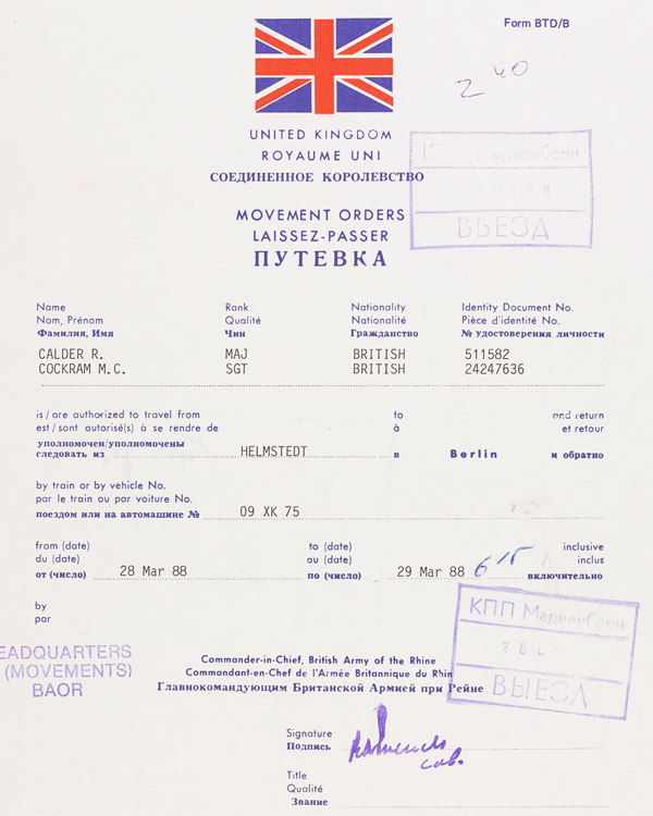 Completed movement order from a Helmstedt to Berlin Travel Pack, 28 to 29 March, 1988
