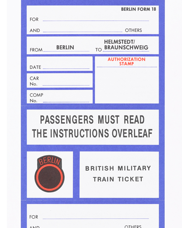 Unused train tickets for the British Military Train, Berlin, 1985
