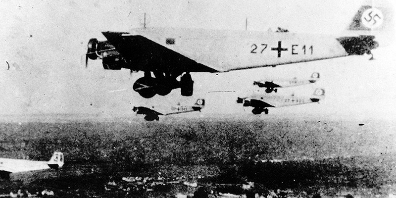 German Junkers 52 aircraft taking part in the airborne invasion of Crete, 1941