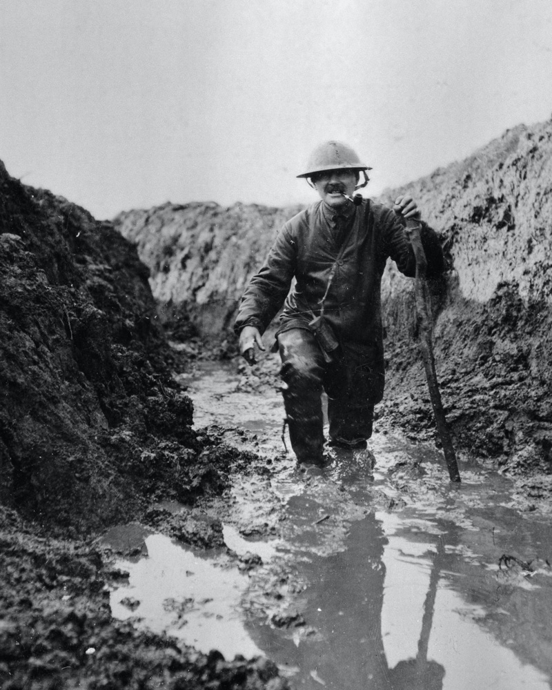 Major B Magrath, 8th East Lancashire Regiment, in a flooded trench, Foncquevilliers, 1917