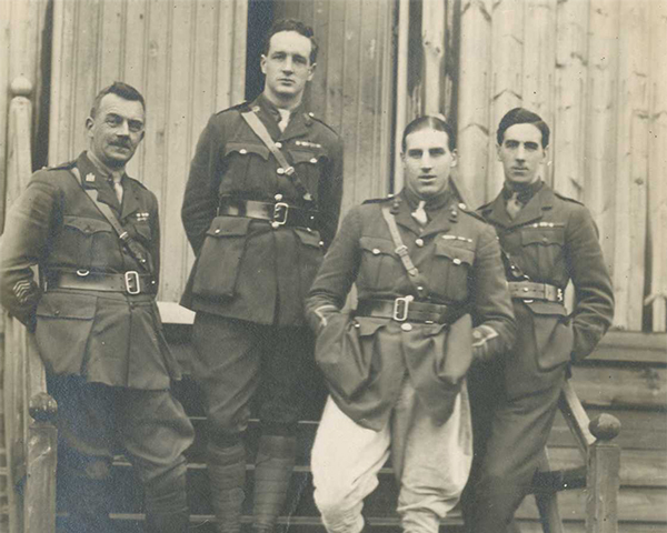 Officers involved in the selection of the Unknown Warrior, including Captain Cecil Smith (centre left), who wrote an account of how he and two of the other men shown, Chaplain George Standing (to his left), and Major Henry Williams (to his right), were tasked with reburying the unselected bodies c1920