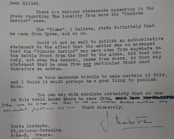 Letter by Colonel J Bradstock addressed from St Pol, 13 November 1920