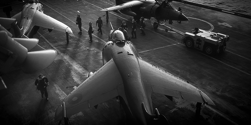 Harriers on aircraft carrier