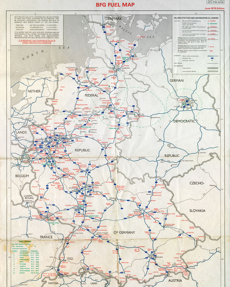 Map denoting where soldiers could find fuel stations that accepted their tax-free coupons, 1979