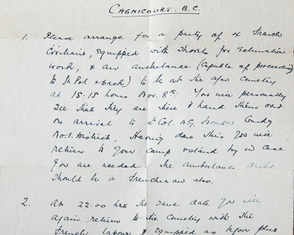 Secret order issued to Captain Albert Fisher, 14 Graves Registration Unit, 6 November 1920