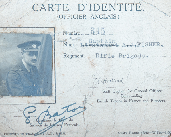 Identity card issued to Captain Albert Fisher, 1920