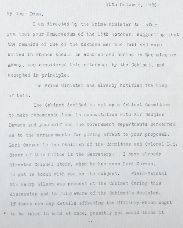 Letter from Maurice Hankey, Cabinet Secretary, to Dean Herbert Ryle, informing him that the Cabinet had approved the burial of the Unknown Warrior, 15 October 1920
