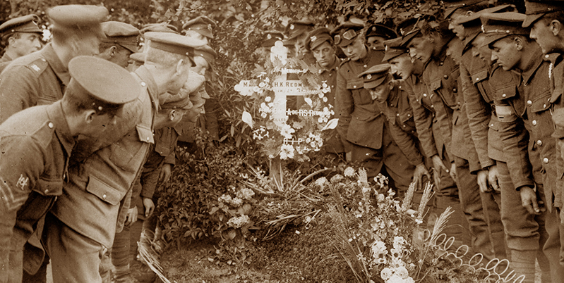 A deputation from Ireland visits the grave of Major Redmond at Locre, 21 September 1917